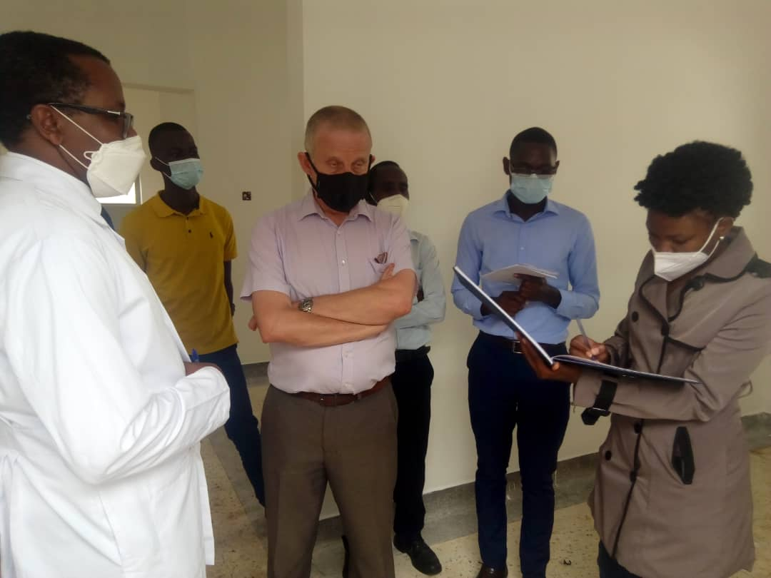 Commissioner Heath services community Health Dr Nsungwa Jesca and her team touring COViD 19 center at Mbarara Regional Referral Hospital