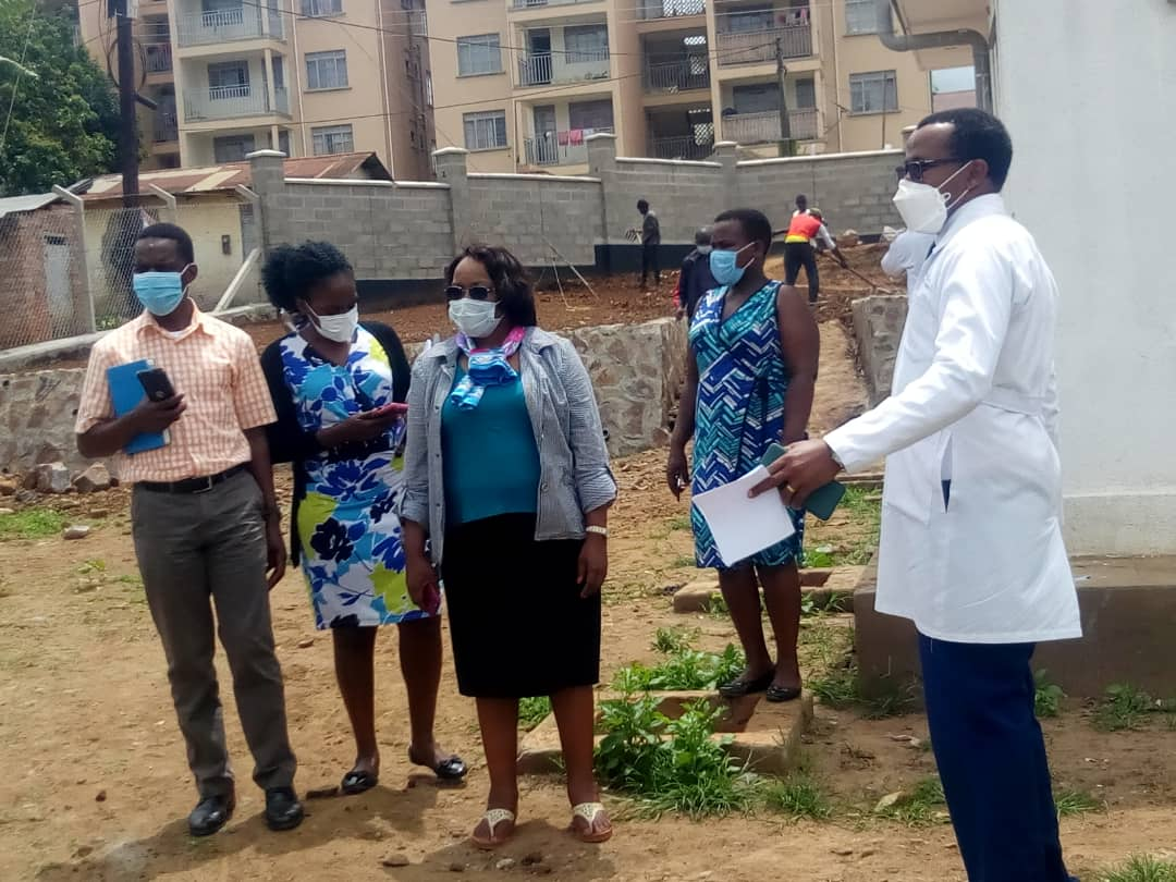 Commissioner Health Services Community, Dr. Nsungwa Jesca and her team touring COViD 19 centre at MRRH