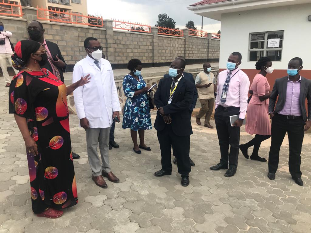 Hon. Minister of State for Health (General Duties): Anifa Bangirana Kawooya (Left) with the Hospital Director  Barigye Celestine